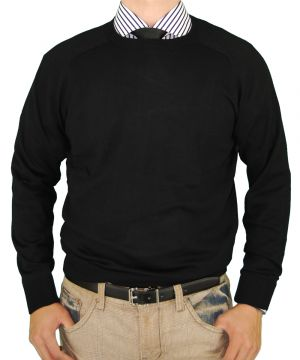 Mens Classic Fit Crew Neck Premium Cotton Sweater With A Cashmere Touch Black by Luciano Natazzi