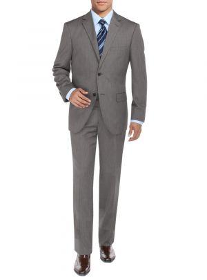 Modern Fit BB Signature Two Button Sharkskin Jacket Blazer Pants Gray by DTI DARYA TRADING