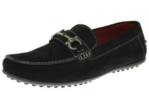 Black Slip-on Comfort Leather Driving Shoes