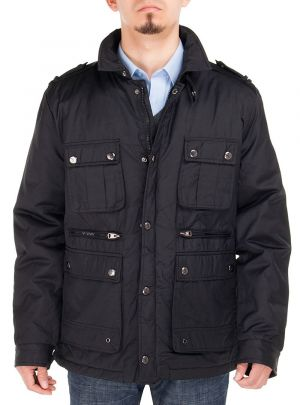 Mens Slim Fit Utilitarian Padded Coat Six-Pocket Jacket Black by Luciano Natazzi