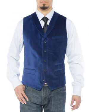 Mens Shawl Lapel Velvet Waistcoat Modern Fit Dress Suit Vest Royal Blue by Luciano Natazzi
