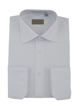 Mens Dress Shirt Spread Collar Cotton Convertible Cuffs Narrow Stripe 4 Colors White by Darya Trading