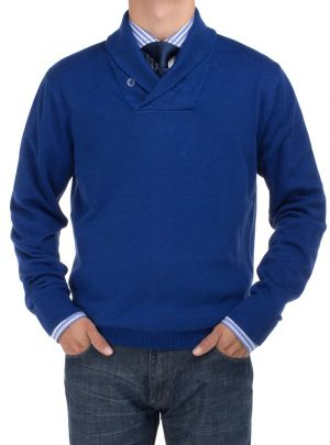 Mens BB Signature Cotton Shawl Collar Sweater Modern Fit Royal Blue by DTI DARYA TRADING