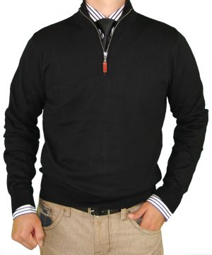 Mens Classic Fit Quarter Zip Mock Neck Sweater Cotton Cashmere Touch Black by Luciano Natazzi