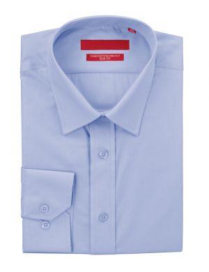 Mens GV Executive Dress Shirt Slim Fit Pure Cotton Barrel Cuff Medium Blue by DTI DARYA TRADING