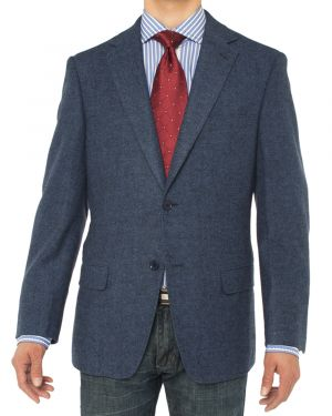 Camelhair Blazer Modern Fit Jacket French Blue Herringbone by Luciano Natazzi
