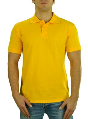 Mens T Jeans Modern Fit Button Down Pique Polo Sport Shirt Yellow by Darya Trading