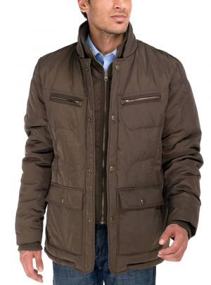 Mens Patton Four-pocket Quilted Puffer Jacket Olive Brown by Luciano Natazzi