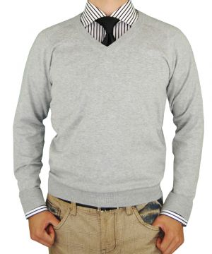 Mens V-neck Cotton Sweater Cashmere Touch Slim Fit Light Gray by Luciano Natazzi