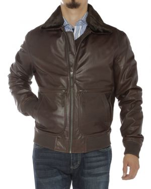 Mens Nappa Leather Flight Bomber Jacket Brown by Luciano Natazzi