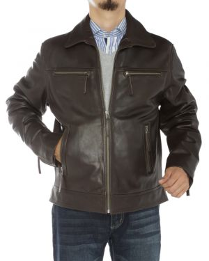 Mens Full Grain Cow Leather Jacket Brown by Luciano Natazzi
