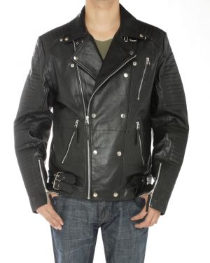 Mens Lambskin Leather Designer Moto Biker Jacket Black by Luciano Natazzi