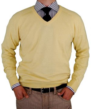 Mens V-neck Cotton Sweater Cashmere Touch Slim Fit Sunlight by Luciano Natazzi