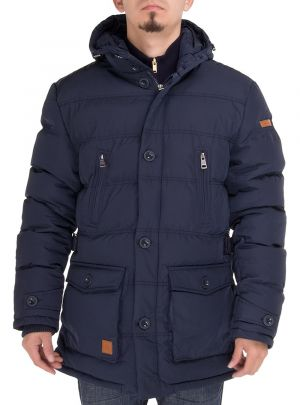 Mens Down Jacket Thermal Padded Classic Oxford Parka Coat Navy Blue by Luciano Natazzi