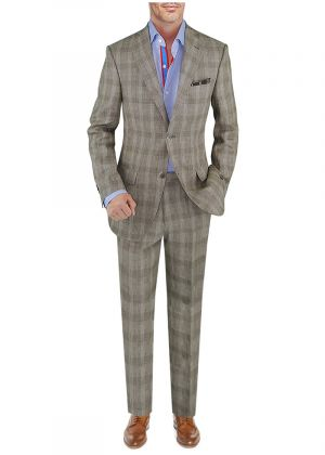 BB Signature Men's Modern Fit 2 Piece Italian Linen Suit Taupe Windowpane by DTI