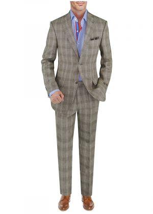 BB Signature Men's Modern Fit 2 Piece Italian Linen Suit Taupe Windowpane by DTI