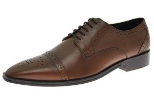 Mens Handmade Leather Shoe Dolce Captoe Lace-up Brown by Luciano Natazzi