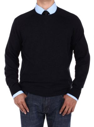 Mens Crew Neck Cotton Sweater Relaxed Fit Black by Luciano Natazzi
