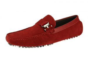 Red Slip-on Loafer Comfortable Leather Driving Shoe