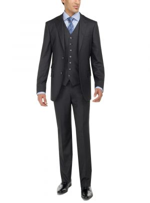 Two Button Birds Eye 3 Piece Modern Fit Vested Charcoal by Luciano Natazzi