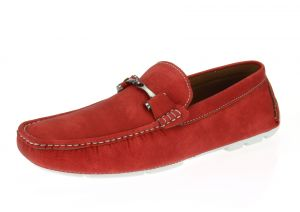 Red Slip-on Loafer Designer Faux Leather Driving Shoe