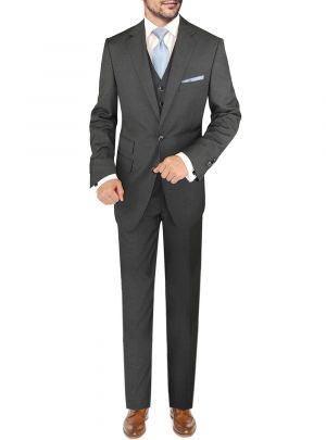 BB Signature Italian Wool Vested 3 Piece Jacket Slacks Waistcoat Charcoal by DTI DARYA TRADING