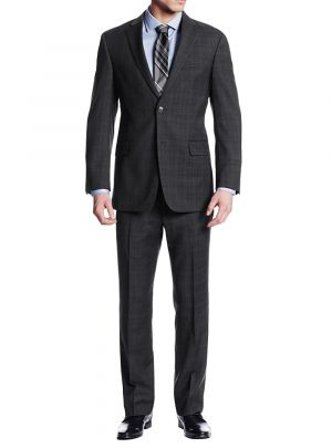 Modern Fit Two Button Nathan Plaid Trim-Fit Blazer Piece Charcoal by Luciano Natazzi