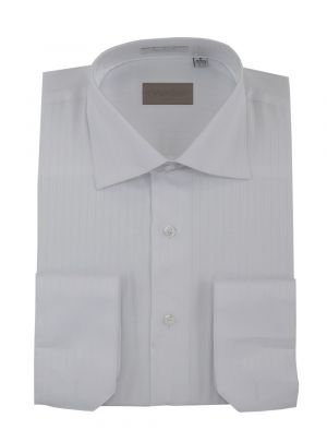 Mens DTI Dress Shirt Spread Collar 100% Cotton Convertible Cuffs Narrow Stripe White by Darya Trading