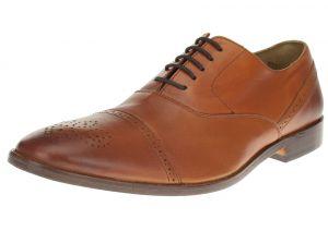 Tan Burnish Lace-up Cap-toe Oxford Full Grain Leather Dress Shoes SL302