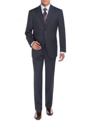 Modern Fit BB Signature Two Button Sharkskin Jacket Blazer Pants French Blue by DTI DARYA TRADING