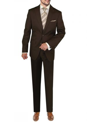 BB Signature Italian Stretch Modern Fit Ticket Pocket Jacket Pant Brown by DTI DARYA TRADING