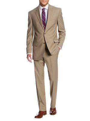 Two Button Side Vent Jacket Flat Front Pants Beige by Salvatore Exte