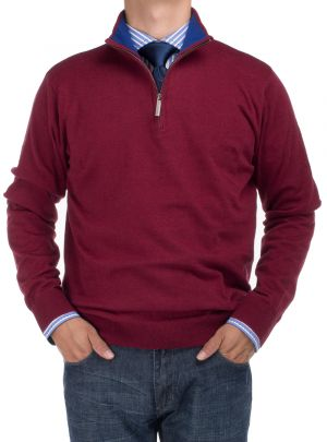 Mens BB Signature Mock Neck 1/4 Zip Sweater Relaxed Fit Burgundy by DTI DARYA TRADING