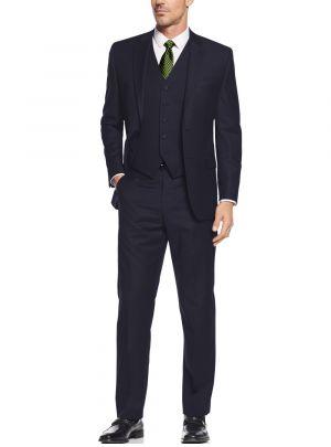 Vested Three Piece Blazer Jacket Dress Vest Plus Pant Navy by Salvatore Exte