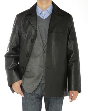 Mens Lambskin Leather Topcoat 3 Button Blazer Coat Jacket Black by Luciano Natazzi