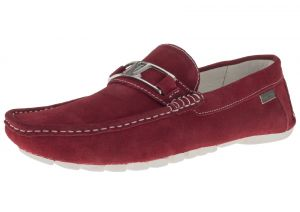 Red Slip-on Loafer Penny Comfort Leather Driving Shoes