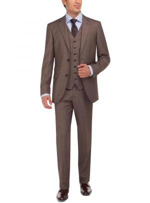 Two Button Tweed 3 Piece Modern Fit Vested Lt. Brown by Luciano Natazzi