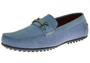 Mens Suede Leather Shoe Kimo Slip-On Driving Moccasin Sky Blue by Luciano Natazzi