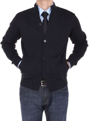 Mens Cotton Mock Neck Ribbed Sleeve Cardigan Sweater Relaxed Fit Black by Luciano Natazzi