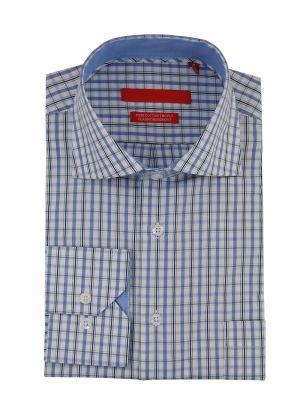 Mens GV Executive Check Dress Shirt Cotton Spread Collar Barrel Cuff Blue / White by DTI DARYA TRADING