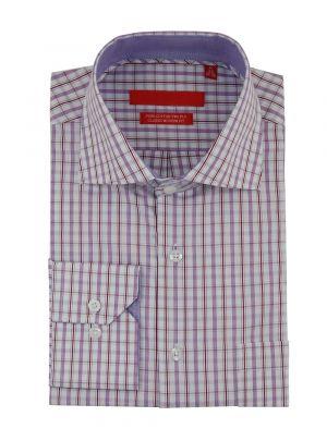 Mens GV Executive Check Dress Shirt Cotton Spread Collar Barrel Cuff Burgundy / White by DTI DARYA TRADING