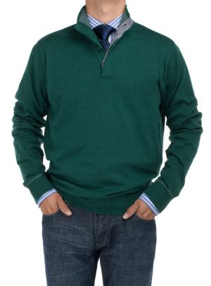 Mens BB Signature Mock Neck 1/4 Button Sweater Relaxed Fit Dk Green by DTI DARYA TRADING