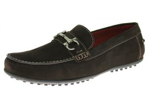 Mens Suede Leather Shoe Kimo Slip-On Driving Moccasin Coffee Brown by Luciano Natazzi