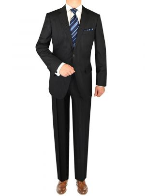 Two Button 160s Canali Cashmere Wool Navy Stripe by Luciano Natazzi