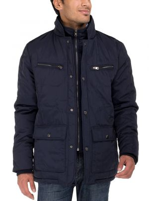 Mens Patton Four-pocket Quilted Puffer Jacket Dark Navy by Luciano Natazzi