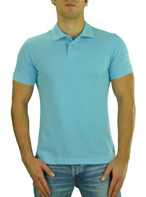 Mens T Jeans Modern Fit Button Down Pique Polo Sport Shirt Sky Blue by Darya Trading
