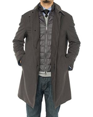 Mens Modern Fit Insulated Lining Walker Coat Charcoal Gray by Luciano Natazzi