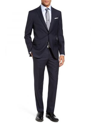 Modern Fit 2 Piece Two Button Narrow Navy Stripe by Luciano Natazzi