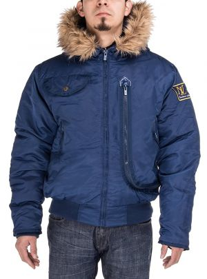 Mens Thermal Padded Hooded Flight Bomber Jacket Dk Blue by Luciano Natazzi