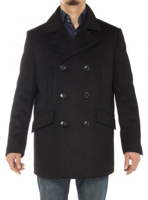 Mens Stylish Wool Top Coat Modern Fit Double Breasted Pea Black by Luciano Natazzi